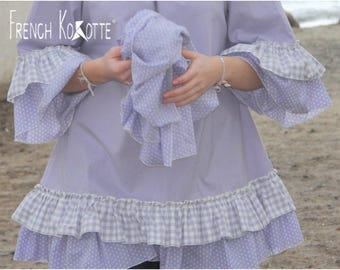 """Tunic """"Love"""" in cotton and gingham ruffle. french Kokotte."""