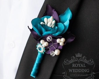 Wedding Boutonniere Grooms Boutonniere Teal Boutonniere Purple Boutonniere Pearls Boutonniere Wedding Package Jewelry Boutonniere Buttonhole