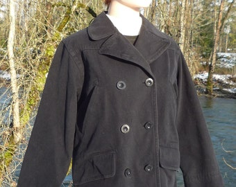 London Fog Small petite black double breasted peacoat, double breasted cotton 6 Petite black peacoat London Fog petite small Peajacket