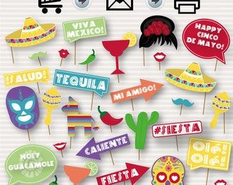 Cinco de Mayo Printable PhotoBooth Props - 5 de Mayo Prop Printables, Mexican party, cinco de mayo party, fiesta props, instant download DIY