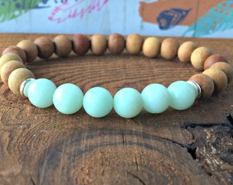Sandalwood & A Grade Amazonite Bracelet, Yoga Mala Beads, Gift for Her, Heart + Throat Chakra Balance, Soothing-Stress Relief-Relaxation