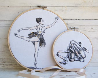 Hoop art, Ballerina print, Fabric wall decor, Embriodery hoops, Set of two pictures, Nursery decor, Gift for girls, Ballet art, Ballet shoes