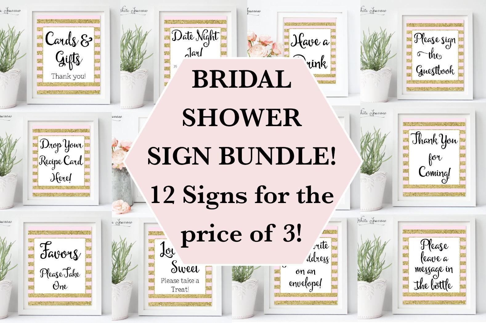 Gold bridal shower signs bridal shower decorations gold for Wedding shower signs