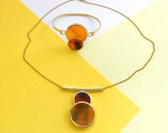 Vintage Geometrical Amber Set (1960s)