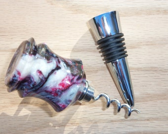 Hand-turned Acrylic Wine Bottle Stopper With Corkscrew