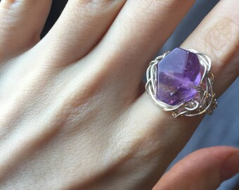 Amethyst + Silver Wire Ring (Size 8.5)