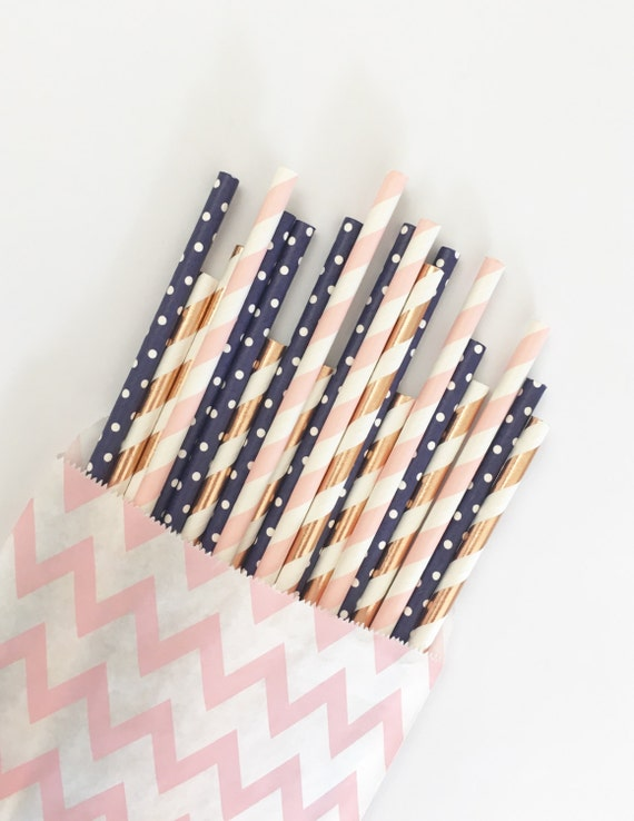 Navy, Pink & Rose Gold straw mix//paper straws, straws, party decorations, party supplies, borthday party, wedding, baby shower, table deco