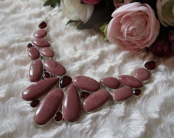 Old pink agate with Garnet jewelry