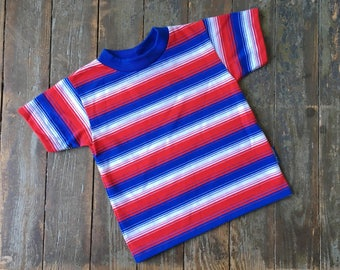 Vintage 70s Baby B'Gosh Red White + Blue Bright Horizontal Striped Cotton Poly Short Sleeve Tee T-Shirt 24 Mos