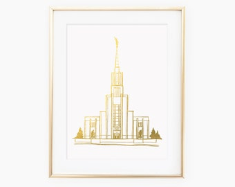 Twin Falls Idaho Gold Foil LDS Temple Art Print
