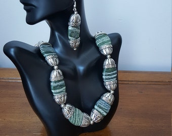 Now on sale from 128.00 to 95.99 Zebra Jasper necklace with earrings and pewter from Denmark