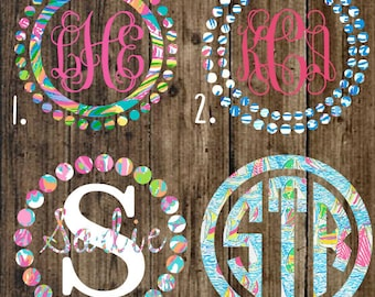 Inspired lilly pulitzer monogram decals