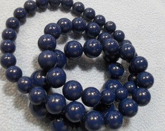 "SALE! Big Navy Blue Lucite Bead Necklace ~28"" Graduated 19 mm to 12 mm Beads (was 9.00)"