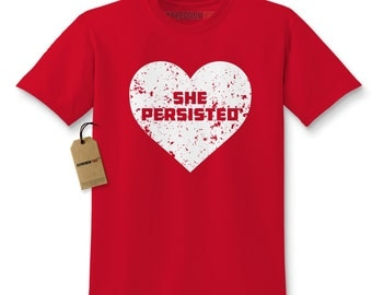 Kids Heart She Persisted #1699 Youth Short Sleeve T-shirt for Boys And Girls Nevertheless She Persisted #LetLizSpeak