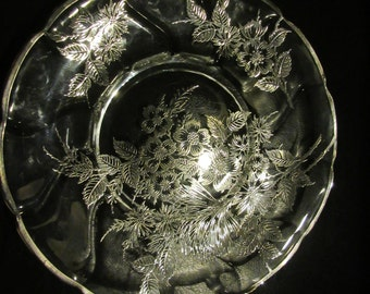 SILVER FLOWERS over GLASS Platter with Handles