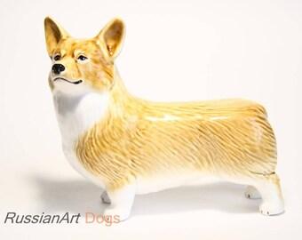 Welsh corgi pembroke dog ceramic figurine handmade statue, statuette