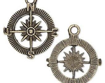 Charm, Compass, Antiqued Brass Charm, Steam Punk Charm, 25mm, 2 each, D956