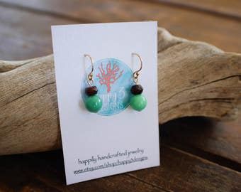 Chrysoprase and Garnet Gemstone Dangle Earrings, Gold filled Hook Earrings with Round and Faceted Gemstones