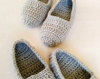 Slippers, bridesmaid slippers,  Gift for women, house slippers, crochet slippers, women slippers,  organic cotton slippers, women gift