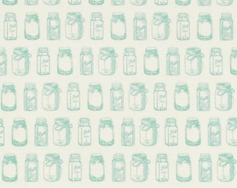 Rustic Mason Jars Mint Cotton Fabric from Rustic Elegance Collection by Carta Bella from Riley Blake Designs