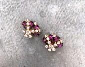Vintage rhinestone earrings clip on earrings rhinestone earrings vintage earrings vintage purple earrings amethyst purple diamante