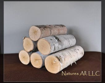 White Birch Fireplace Logs/Empty Fireplace Decor/Fill A Space/6 PC. Set/12 Inch Lengths/3-4 Inch Diameters/Shipping Included: Item# BL-1234