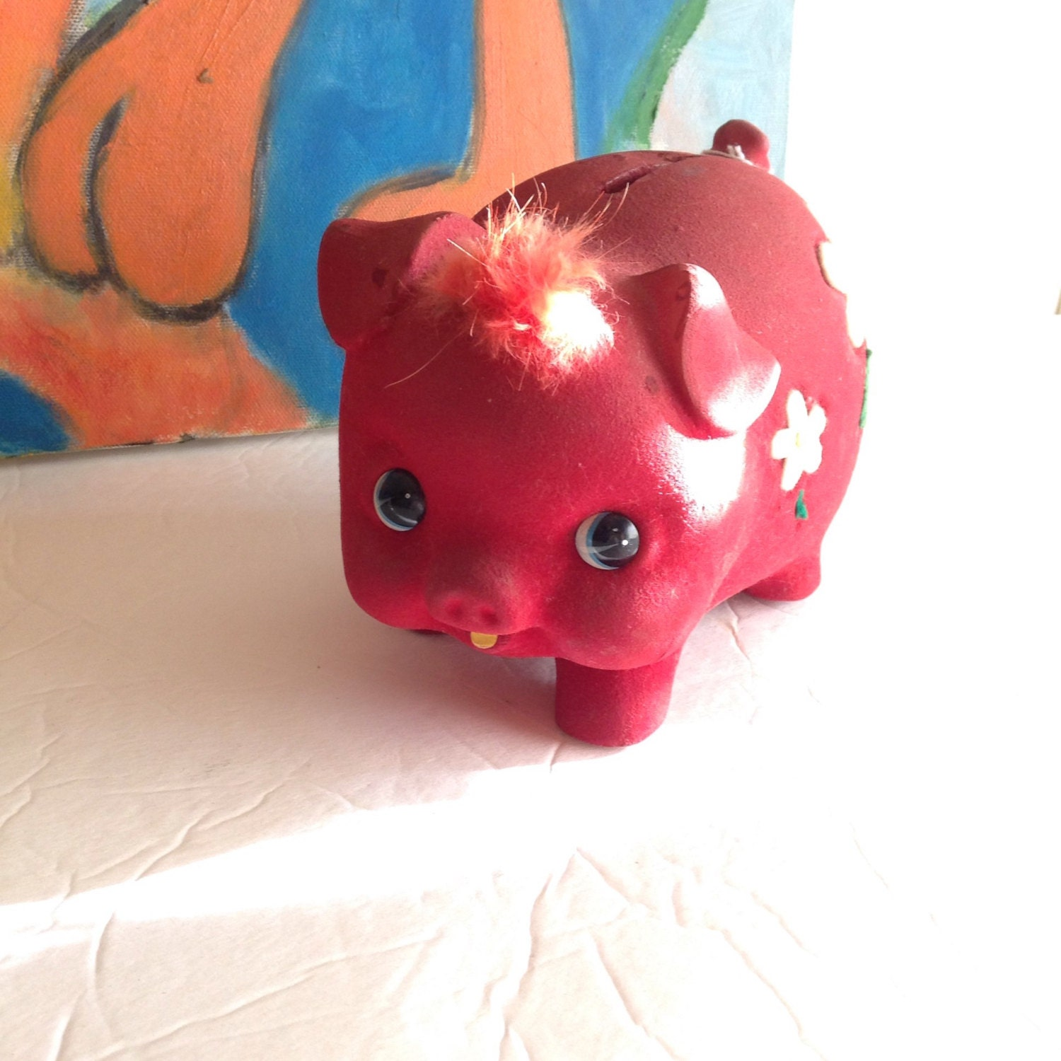 Collectible vintage red flocked daisy pig piggy bank - Piggy bank without stopper ...