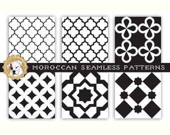 Vector Seamless Patterns Moroccan tileable backgrounds tiled tiles geometric patterns quatrefoil traditional arabic eps ai jpeg ornament