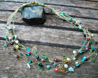 Multi strand knitted wire beaded necklace, Gold wire knitted beaded necklace, Jewelry Gift for Her