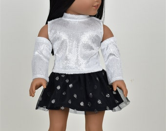 Sparkly silver top WITH REMOVABLE Sleeves 18 inch doll clothes
