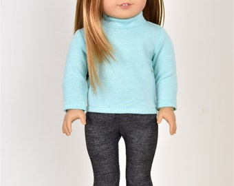 Turtle Long Sleeve top 18 inch doll clothes Color Mint