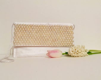 Clutch bag, wedding bag, bridal bag, white bridal clutch, satin and pearl bag, satin clutch, bridesmaid bag, mother of bride bad,