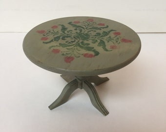 Dollhouse Miniature Stenciled Round Table