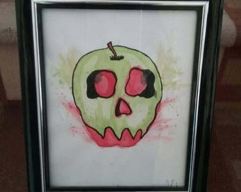 Poisoned apple, poison, apple, skull, fruit, skulls, apples, watercolor, pen and ink, ink drawing, framed art, poisonous, wall art, art