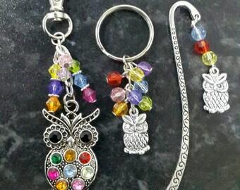 Owl gift set. Teacher gift, birthday, gift for her, Bag charm, keyring and bookmark.