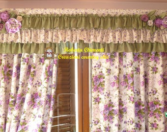 Country-chic two panels curtain, shabby-chic curtain with double ruffle, flowers bouquet Sanderson fabric, cottage style, embrasse, valance