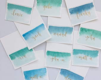 Ombre Watercolor Calligraphy place cards