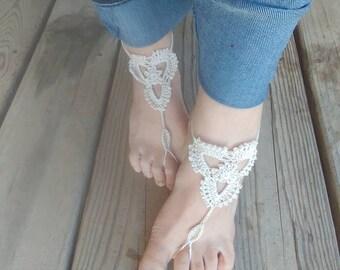 Crochet barefoot sandals, wedding accessory, beach sandals
