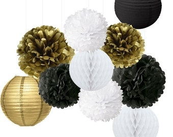 10PCS Mixed Gold Black White Tissue Pom Poms Hanging Paper Lantern Honeycomb Ball, Christening, New Year Eve, Birhday Party