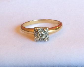Diamond Cluster Ring, Mid Century Engagement Ring, 14K White and Yellow Gold, Size 6.5