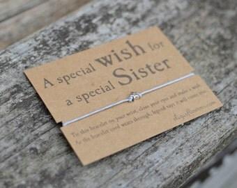 Wish Bracelet for Sister, Make a Wish Bracelet, Sister Gift, Cord Bracelet and Gift Card.