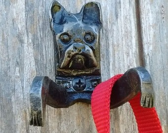 Hand Forged Boston Terrier Leash Holder- Double Hook
