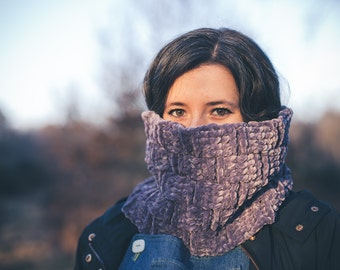 Soft Velvet Lavender Grey Vegan Snood