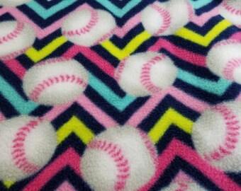 Softball Fleece Throw - Softball Fleece Blanket - No Sew Fleece Softball Blanket ~ Ready to Ship!