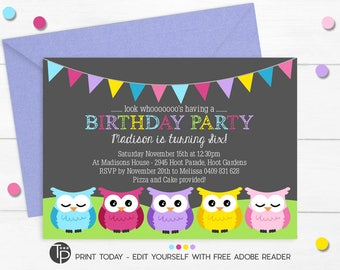 OWL BIRTHDAY Invitation, Instant download OWL Invitations, Owl Party Invitation, Owl Printable, Owl Party, Edit yourself with Adobe Reader