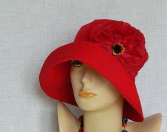 Linen hat, summer hat, women's hat, red hat