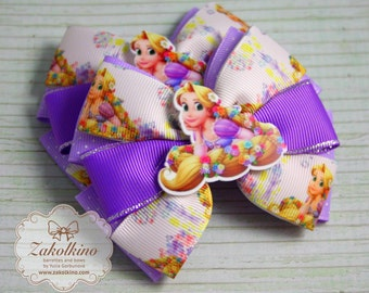 Rapunzel hair bow Tangled bow Rapunzel birthday party favors Rapunzel gifts Rapunzel dress Rapunzel necklace Tangled disney Rapunzel outfit
