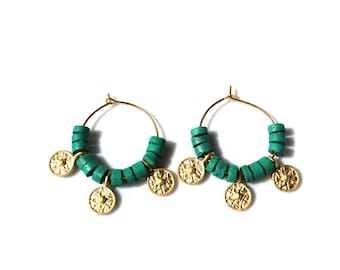 Earrings made of coconut and plated gold boho - Bohemian