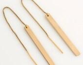 Gold Bar Threader Earrings, Long Dangle Earrings, Dainty Bar Drop Earrings, Sterling Silver, 14k Gold Fill, by LEILAJewelryshop