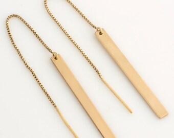 Gold Bar Threader Earrings, Long Dangle Earrings, Dainty Bar Drop Earrings, Sterling Silver, 14k Gold Fill, by LEILAJewelryshop, E204